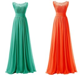 Barato Mais Tamanho Laranja Vestidos De Noite-Turquoise Prom Dresses Mulheres Chiffon Orange Long Dress Small Round Neck Lace Blue Cheap Custom Fast Delivery Evening Dress Red Plus Size
