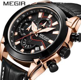 Men Sports Racing Watch Australia - MEGIR Speed Passion Men Genuine Leather Band Racing Watches Chronograph 3 ATM Waterproof Fashuon Sport Watch 2065G