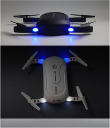 New Mini Drone Camera Canada - Portable LED Selfie Drone With 0.3MP WIFI FPV Camera Foldable Pocket RC Quadcopter Phone Control Quadrocopter Mini Drone 2017 New