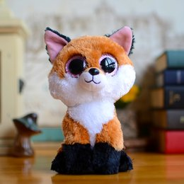 cute beanie boos 2019 - Wholesale- Ty Collection Beanie Boos Kids Plush Toys Big Eyes Slick Brown Fox Lovely Children Gifts Kawaii Stuffed Anima