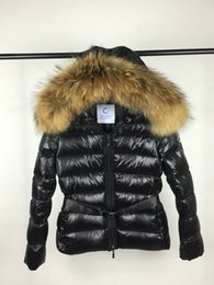 Grandes Vestes À Capuche Pas Cher-Femmes Mon Brand Duck Down Coat 100% Real Large Collier en fourrure de Raccoon Down Jacket Hooded Waist Slim Thick Duck Down Parkas
