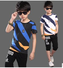 $enCountryForm.capitalKeyWord Canada - New Arrival 2017 Summer 5-14 Years Old Waer For Children's Suits Boys Cotton Short Sleeve T Shirt+Shorts Clothes Sets Kids Suits