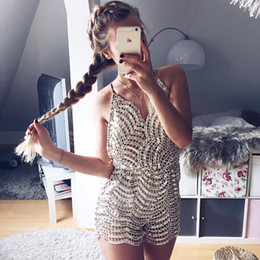 Barato Jumpsuits De Glitter-Rompers Womens Jumpsuit Shorts 2017 Sexy Glitter Sequins Combos de terno Night Club Party V Neck Macacão Bodysuit Beach Wear