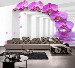 $enCountryForm.capitalKeyWord NZ - Study Room Wallcoverings Modern-style Violet Flower Custom Size 3D Photo Wallpaper Backdrop Stereoscopic Murals Wall Paper Roll