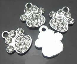 Key Chains For Slide Charms Canada - wholesale 100pcs lot rhinestones paw hang pendant charms DIY accessories fit for phone strips key chains