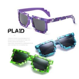 Discount wholesale pixel sunglasses - DHL Fashion Children Sunglasses Boys Girl Mosaic Creeper Glasses Pixels Retro Square Sunglass fashion Knickknack Gift fo