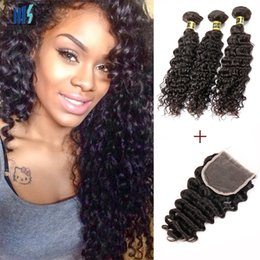 Discount brazilian curly hair styles - Virgin Brazilian Deep Curly Virgin Hair Extensions 3 Bundles Human Hair Bundles With Lace Closure Kiss Hair Fashion Styl