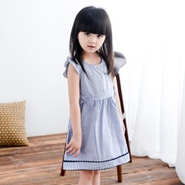 Children Straight Gown Styles Canada - DHL free 10 pcs Summer Baby Girl Dress Striped Kids Dresses For Girls Party Princess Children Bowknot Vestidos Birthday Party Gown Clothes