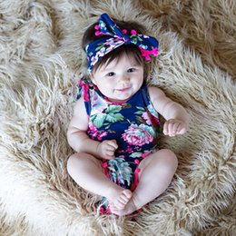 $enCountryForm.capitalKeyWord Canada - Floral romper + headband set  2017 INS design  floral print  cotton headwrap   baby girl jumpsuit   romper with ball fringe knotbow