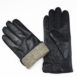 ba640c18a7131 Wholesale- Tactical Gloves Leather Gloves Men's High-grade Imports Of Sheepskin  Fashion Stripe Style Wool Lined Warm Winter Protective