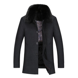 Barato Casaco De Pele De Cashmere Mens-Venda por atacado - New Winter Wool Coat Men Woolen Jacket Mens Fur Turndown Collar Thicken Parkas Wool Blends Casacos Casaco Casaco Warming Jacket 118wy