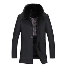 Wholesale woolen men s outerwear resale online - New Winter Wool Coat Men Woolen Jacket Mens Fur Turndown Collar Thicken Parkas Wool Blends Outerwear Coat Male Warm Jacket wy