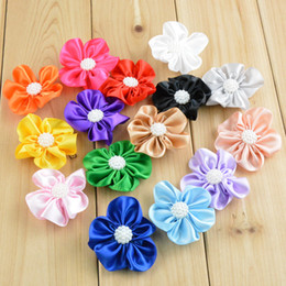 $enCountryForm.capitalKeyWord Australia - free shipping 50pcs lot 2 inch Girls Satin Ribbon Flower Headband Pure Color Five Petal Flower For Kids Head Garment Shoe Decoration H065