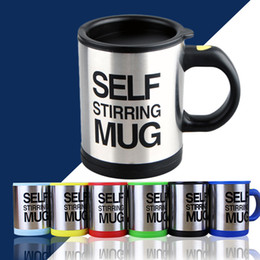 $enCountryForm.capitalKeyWord Australia - Lazy Self Stirring Mug Automatic Electric Coffee Tea Mixing Cup With Lid Stainless Steel 400ml Creative Drinkware with retail package