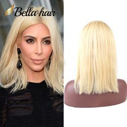 "Bob Cut Glueless Human Hair Wigs NZ - 613 Wig Human Hair Bob Wigs Full Lace Blonde Wigs Can Be Dyed Short Cut Bob Natural Straight 10""12"" Bella Hair"