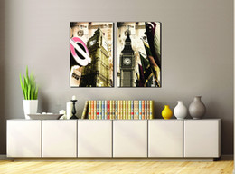 Impressions Canvas Print Australia - Special Offer Canvas Painting Wholesale 2pcs Modular Picture City Impression The Big Ben Modern Decoration In The Living Room