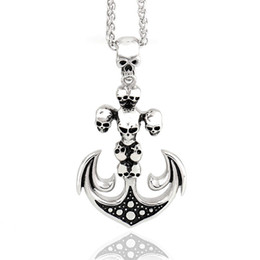 $enCountryForm.capitalKeyWord UK - High Quality Men's Vintage Anchor Pendant&Necklace with Skull Design 22in Free Chain stainless steel pendants jewelry