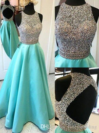 Robe De Soirée De Luxe Pas Cher-Backless Luxurious Sparkly 2017 Robes de soirée aigues Crew Beaded Sequins Cristaux Robes de bal A-line Satin Formal Party Vestières