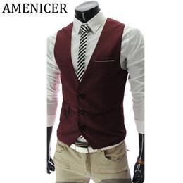 Discount fashion gilet mens - Wholesale- Mens Suit Vest Korean British Style Business Dress Suits Sleeveless Vests Wine Red Slim Fit Gilet Tactical Ma