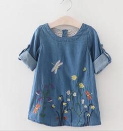 Korean Baby Flowers Canada - Korean Fashion Kids Baby Girls Long Sleeve Denim flower Dress Casual Clothes