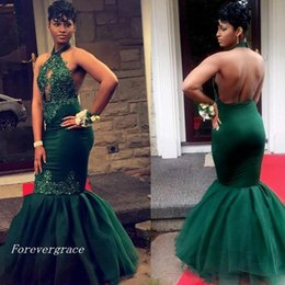 Robes De Licorne Vert Foncé Pas Cher-2017 Sexy Dark Green Lace Appliques Black Girls Prom Dress Halter Keyhole Neck sans manches Tulle Sweep Train Party Robe Custom Made Plus Size