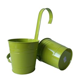 balcony planters NZ - Free shippng 15*15CM Light Green Pure garden balcony bucket tin box Iron pots Hanging bucket Planters Round with KD hook