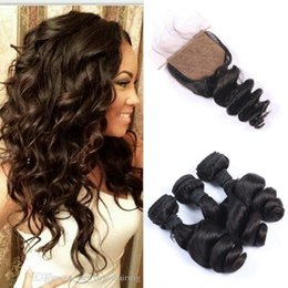 Discount virgin brazilian 4x4 silk closure - 3 bundles with closure 100% human hair extensions virgin indian loose wave with closure silk top 4x4 G-EASY