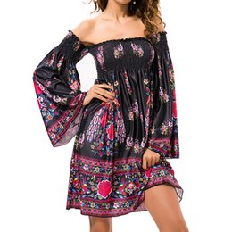 China Summer Beach Dresses Woman Off Shoulder Flare Sleeve Wrap Chest Wild Flower Floral Dresses For Women Femme Vintage Sukienki suppliers