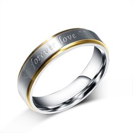 "forever love steel ring NZ - Meaeguet Fashion Jewelry Two-tone ""Forever Love"" Double Heart Stainless Steel Promise Lovers Ring for His & Hers Wedding Band R-067"