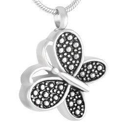 Urn Pendants NZ - IJD9333 Memorial Urn Necklace Cremation Pendant For Ashes Keepsake Black Enameled Butterfly Stainless Steel Jewelry With Free Shipping