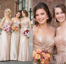 Sweetheart Strapless Rose Gold Lentejuelas vestidos de dama de honor 2017 Una línea de vestidos de tubo para las mujeres Barato piso largo vestido de invitados de boda de longitud