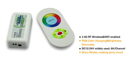 remote control rgb led strips UK - Free Shipping RF 2.4G wireless controller, 12v-24v 18A Controller For SMD 5050 3528 RGB led strip light, control distance 30m
