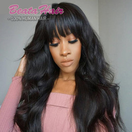 Discount human hair front fringe - Hot Wavy Glueless Full Lace Wig With Bangs Peruvian Virgin Hair Full Fringe Wig Human Hair Bleached Knots Wig For Black