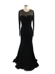 fuchsia evening dresses UK - 2017 New Sexy Evening Dresses Wear Jewel Neck Long Sleeves Black Lace Appliques Beaded Mermaid Prom Gowns Plus Size Formal Party Dress