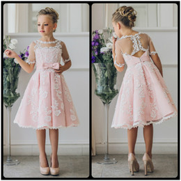84caef525 Fancy Pink Flower Girl Dress with Appliques Half Sleeves Knee Length A-Line  Gown with Ribbon Bows For Christmas 0-12 Years Old