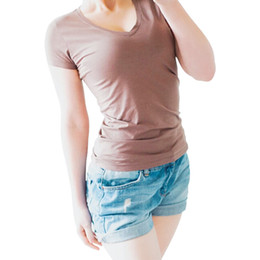 High Neck T Shirts For Women Canada - High Quality V-Neck 15 Candy Color Cotton Basic T-shirt Women Plain Simple T Shirt For Women Short Sleeve Female Tops 077