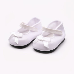 leather doll shoes Canada - Abbyfrank 18 Inch American Girl Doll Shoes Handmade Leather Shoes White Black Fashion Cute Ballet Shoes Doll Clothes Accessories