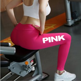 Pantalones De Color Atlético Baratos-Pink Letter Print Chándales Leggings 2018 Mujeres Fitness Sport Workout Yoga Footing Medias Gimnasio Atlético Running Sweatpants Pants Sportswear