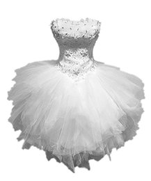 Cheap Plus Size Wedding Dresses UK - Sweetheart Women's Cute Strapless Pearls Lace Ball Gown Cheap Plus Size Tulle Short Wedding Gowns Dresses