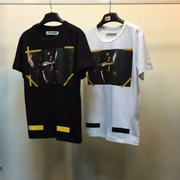 3f73ceb208 Wholesale- Best version 2016 winter off white 7 Opere classic caravaggio  religion printed yellow brushed diagonals short sleeve t-shirt tee