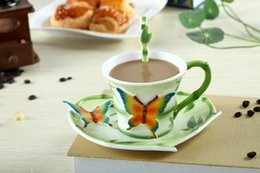 $enCountryForm.capitalKeyWord Canada - Hand Crafted China Enamel Porcelain Tea Mug Coffee Cup Set with Spoon and Saucer for friend Gift