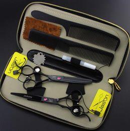 $enCountryForm.capitalKeyWord Canada - 5.5 6 inch hair scissors set HD-26 left hand black paint Hairdressing scissors Flat shear teeth scissors thinning shear cutting scissors set