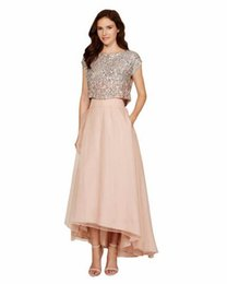 Barato Oi Vestido Baixo Bling-Blush Pink Two Pieces Vestidos de dama de honra Sexy High Low Bling Wedding Party Vestidos para dama de honra