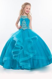 Barato Vestido Tamanho 12 Crianças-2018 Novo tamanho 10 Tulle Crystal Beads Ball Gown Para Crianças Long Floor Length Ruffles Flower Girls Party Gowns Teal Cute Girls Pageant Vestidos