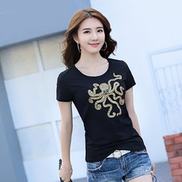 Animal Handmade Canada - 2017 new handmade bead short sleeve lady t-shirt octopus Korean version of the Slim round neck cotton shirt 1725