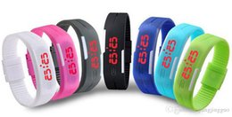 $enCountryForm.capitalKeyWord NZ - Sports Rectangle Led Digital Display Touch Screen Watches Candy Rubber Belt Silicone Bracelets Wrist Watches Led Touch Wristwatch