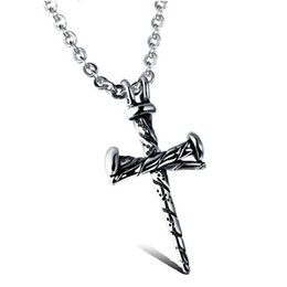 Chinese  HOT SELL ! 10pcs lots Europe and America fashion Men's alloy Nails Cross charm Pendants Necklaces Jewelry manufacturers