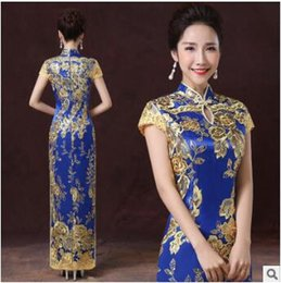 Broderie Chinoise Cheongsam Soirée Pas Cher-Robe de broderie chinoise traditionnelle Chine Wedding Qipao Long Evening Party Cheongsam Qi Pao Robes orientales Robe Chinoise