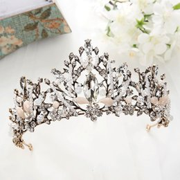 Crystal Heads NZ - Black Bridal Baroque Handmade Jewelry Crown Tiaras Headbands Rhinestone Crystal Pearls Hair Accessories Head Jewelry Party Wedding Headpiece