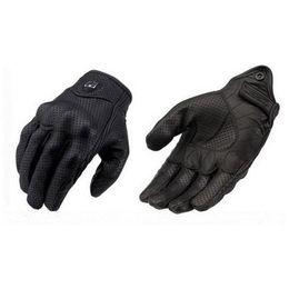 Gants de moto Moto Gants de vélo en cuir Gants de moto en cuir perforé couleur noire Taille M L XL